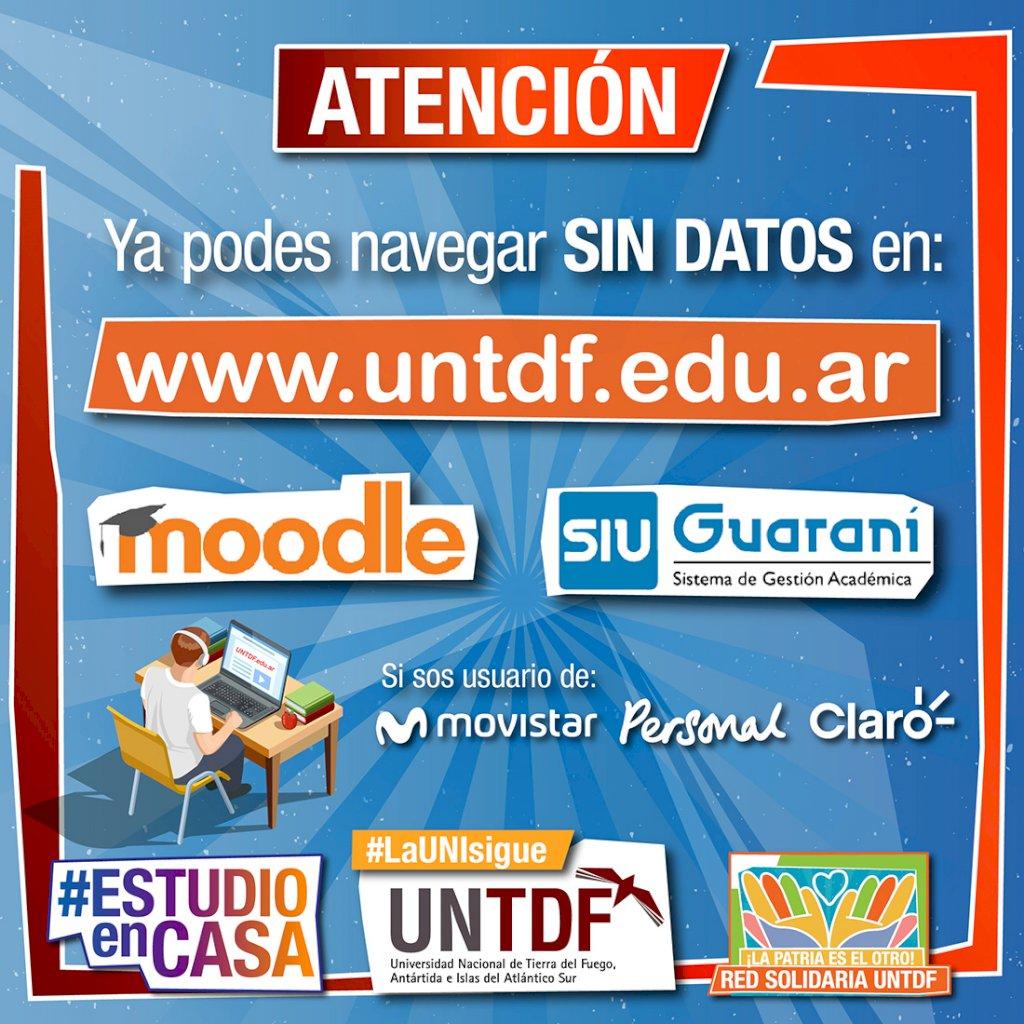 ya podés ingresar a la página de la universidad, al SIU Guaraní y al Moddle SIN GASTAR DATOS MÓVILES .  Si tenés Movistar, Personal o Claro podés navegar de manera libre y gratuita. .  #laUNIsigue #ESTUDIOenCasa #RedSolidaria #CuidarteEsCuidarnos