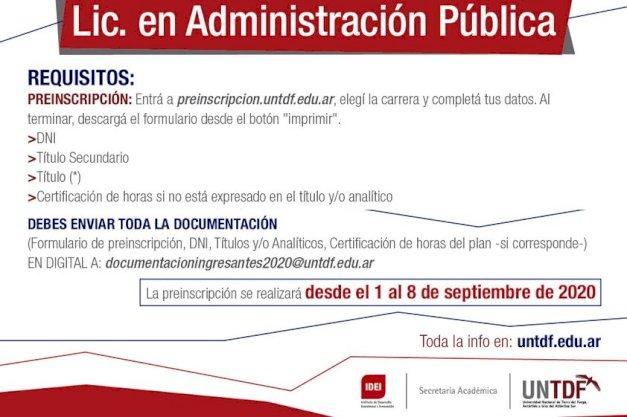 La UNTDF abrió la inscripción para la Licenciatura en Administración Pública