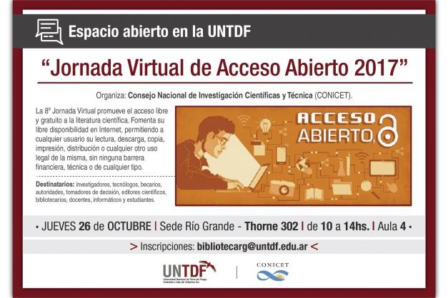 "La UNTDF invita a la ""Jornada Virtual de Acceso Abierto 2017"""