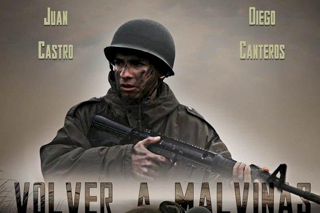 Cartelera del cortometraje ¨Volver a Malvinas¨ , muestra la imagen de un soldado empuñando una ametralladora