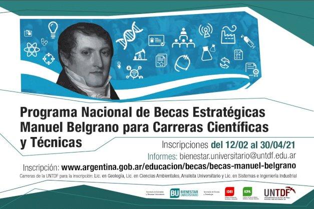 Inscripción abierta al Programa Nacional de Becas Estratégicas Manuel Belgrano para carreras científicas y técnicas.